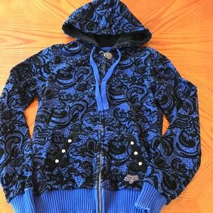 Fox Sweatshirt Hoodie Blue Black Velvet Studs